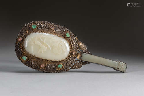 19th Chinese Antique White Jade Hand Mirror
