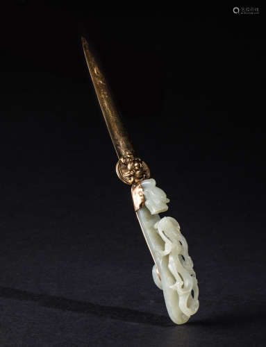 19th Chinese Antique Pale Celadon Jade Letter Opener