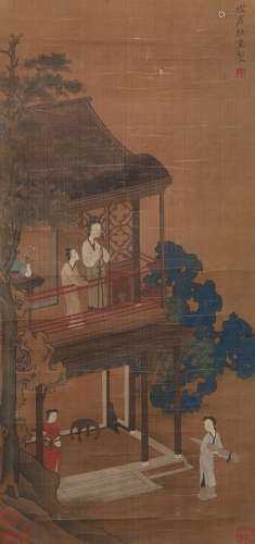 Du Jin - Painting of Figure in Chinese Pavilion
