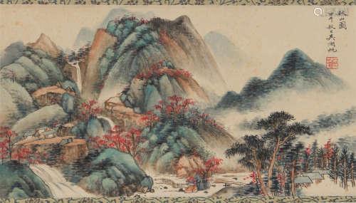 Hufan Wu - Fall Mountain Scenery Shan Shui Painting
