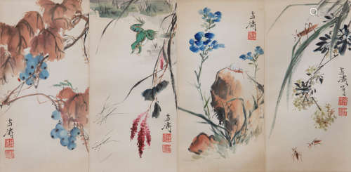 Xuetao Wang- Flower and Insects Painting