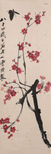 Qi Baishi - Peach Tree and Butterfly Painting