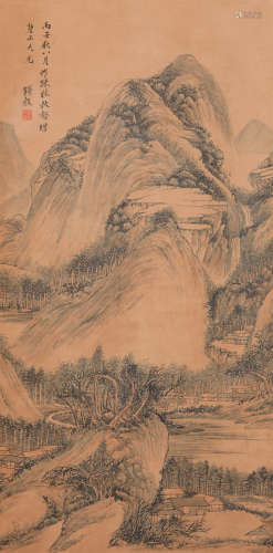 Qian Gu - Mountain Scenery Shan Shui Painting