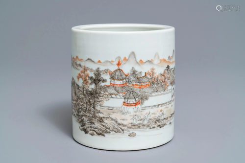 A Chinese grisaille and iron red brush pot, Ju Ren Tang