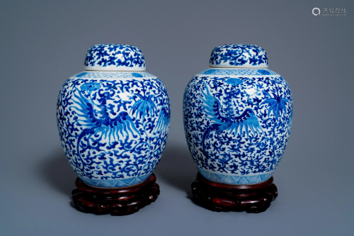 A pair of Chinese blue and white covered 'phoenix'
