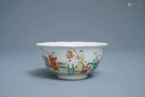 A Chinese famille rose 'playing boys' bowl,