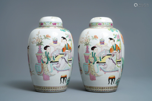 A pair of fine Chinese famille rose 'ladies' vases,