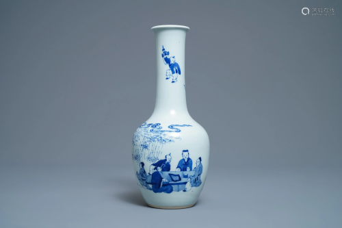 A Chinese blue and white bottle vase with go-pla…