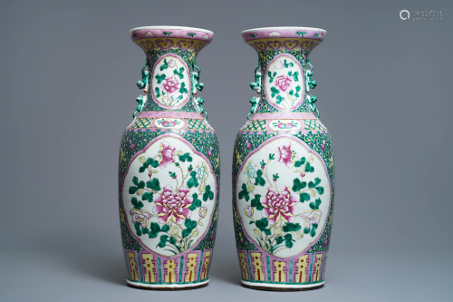 A pair of Chinese famille rose 'peony' vases, 19…