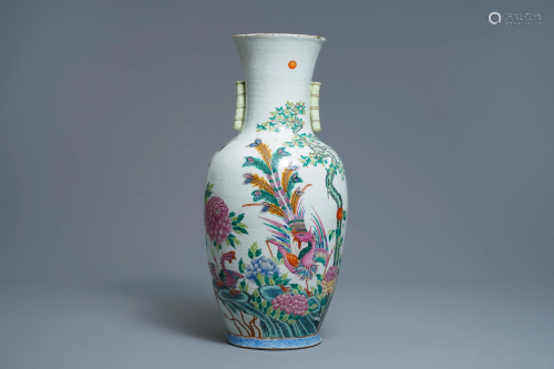 A Chinese famille rose 'phoenix and crane' vase,