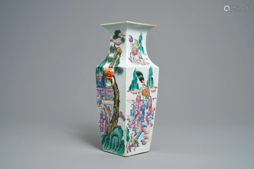 A Chinese famille rose square vase with figural desi…
