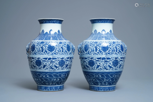 A pair of Chinese blue and white hu vases with floral