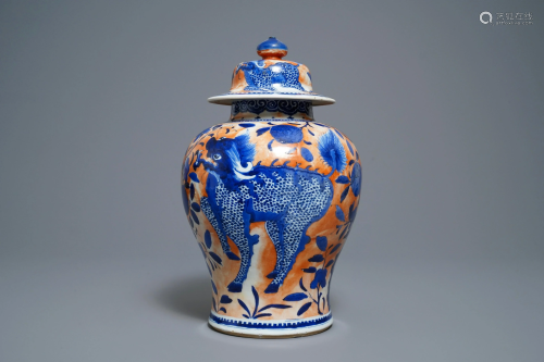 A Chinese blue and white clobbered 'qilin and p…