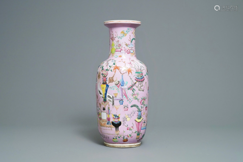 A Chinese famille rose pink-ground rouleau vase, 19th