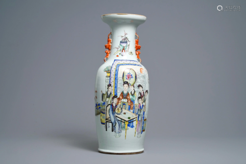 A Chinese qianjiang cai vase with women around…