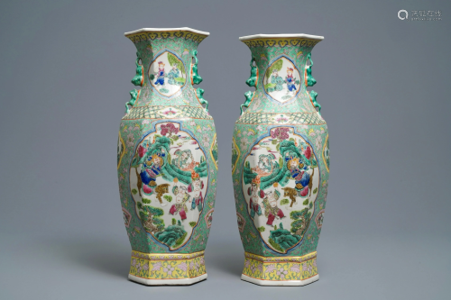 A pair of Chinese famille rose hexagonal vases,…