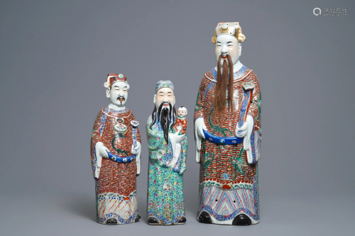 Three Chinese famille rose figures of star gods,