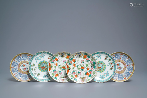 Three pairs of Chinese famille rose and fencai plates,