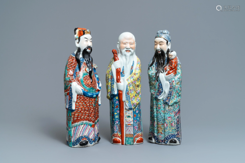 Three Chinese famille rose figures of the three star