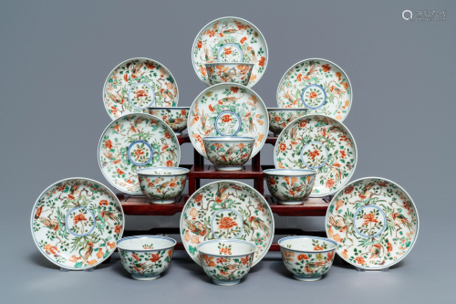 Nine Chinese famille verte cups and saucers with …