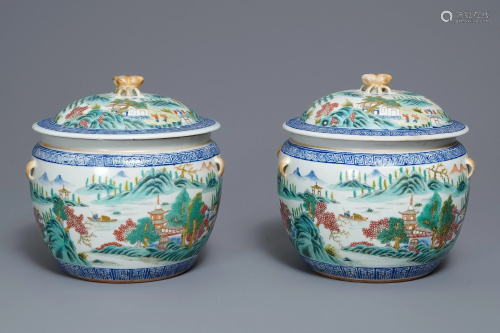 A pair of Chinese famille rose bowls and covers…