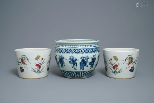 Three Chinese famille rose & blue jardinières, 19th C.
