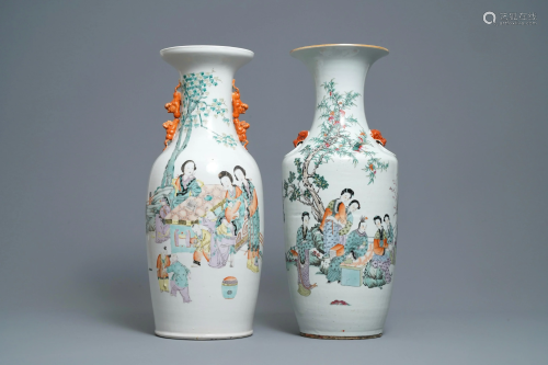 Two Chinese qianjiang cai vases with ladies in a