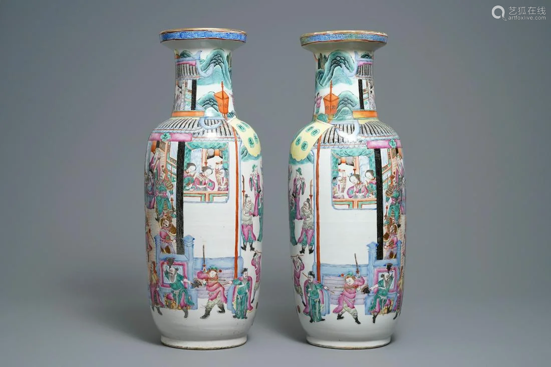 A pair of of Chinese famille rose rouleau 'court sc…