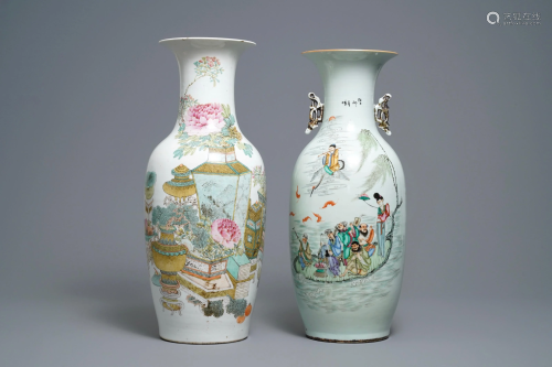 Two Chinese qianjiang cai and famille rose vases, …