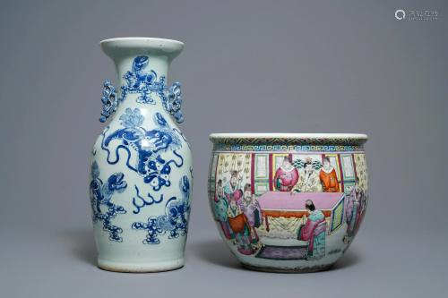 A Chinese celadon vase & famille rose jardinière, 19th
