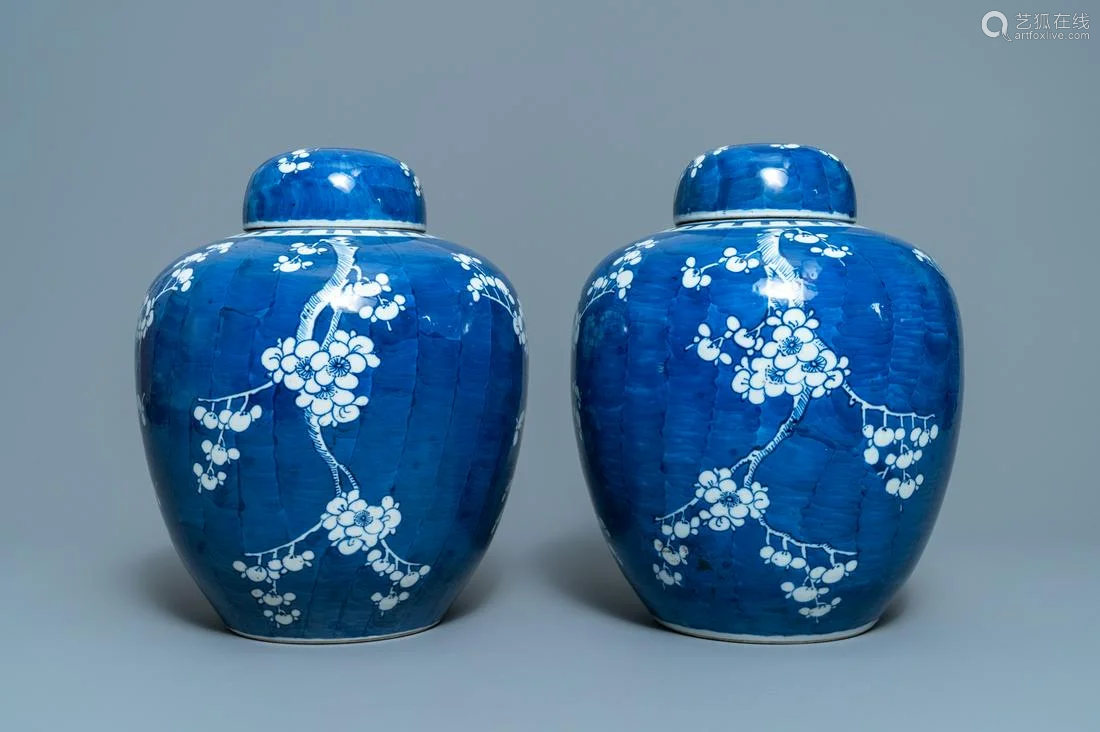 A pair of Chinese blue and white 'prunus on cracked