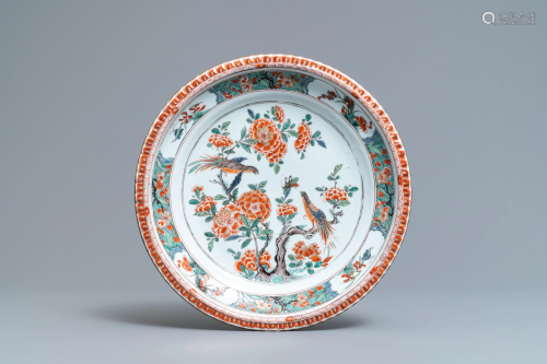 A Chinese famille verte dish with birds among blosso…
