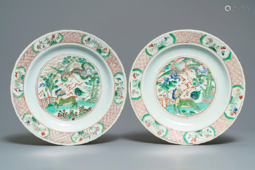 A pair of Chinese famille verte 'qilin and phoenix'