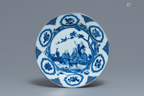 A Chinese blue and white dish after Cornelis Pronk: