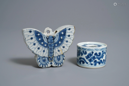 A Chinese blue and white butterfly wall pocket va…