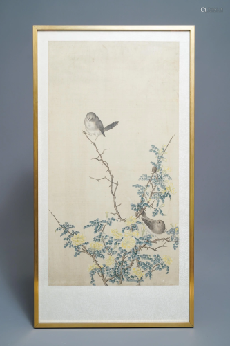 Chinese school, 19th C., ink and colour on silk: birds