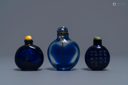Three Chinese transparent blue glass snuff b…