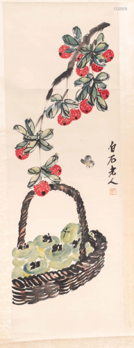 Chinese school, ink and watercolour on paper, 20th C.: