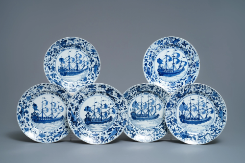 Six Chinese blue and white 'VOC-ship' dishes, Kan…