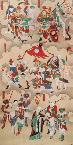 Chinese school, ink and colour on paper, Qing: