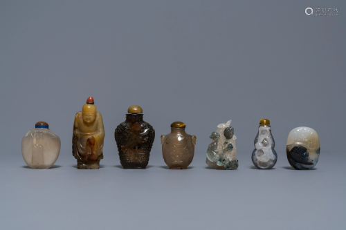 Six Chinese carved agate snuff bottles and a pen…