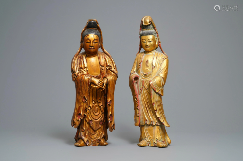 Two large Chinese gilt-lacquered wood figures of