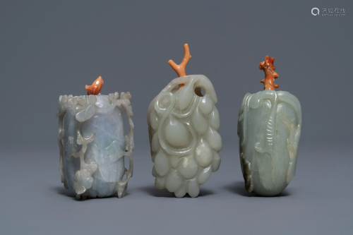 Three Chinese jade snuff bottles with coral stoppers,