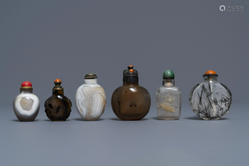 Six Chinese needle quartz and agate snuff bottles,