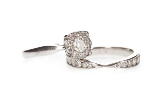 A DIAMOND CLUSTER RING AND A DIAMOND SET BAND