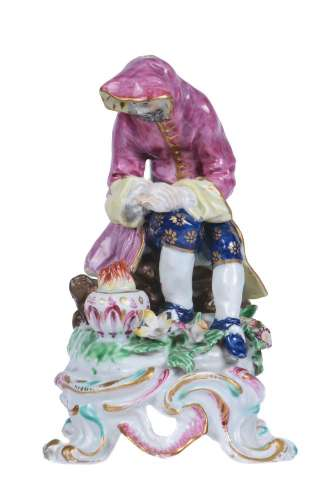 A Bow porcelain figure emblematic of Winter from a series of the Seasons