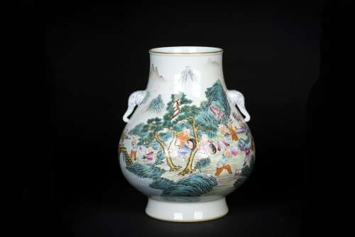 A Chinese Famille-Rose Porcelain Boy Playing Vase