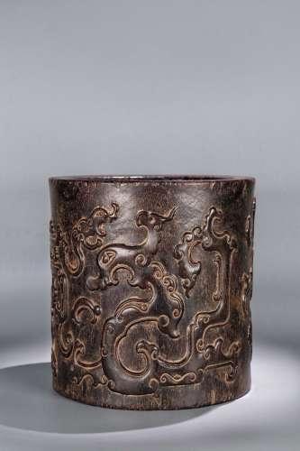 清代小叶紫檀木螭虎纹文房笔筒