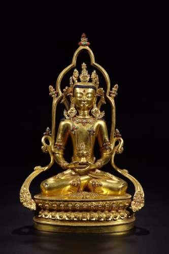 清代铜鎏金嵌松石玛瑙长寿佛坐像