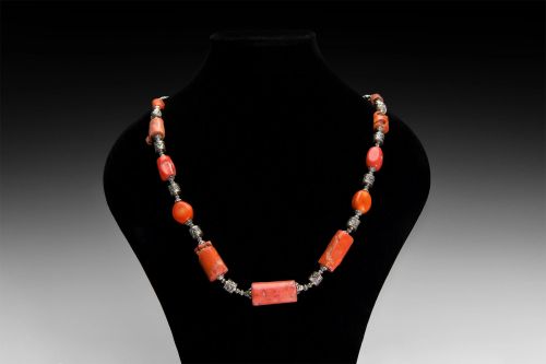 Coral Bead Necklace with Spacers